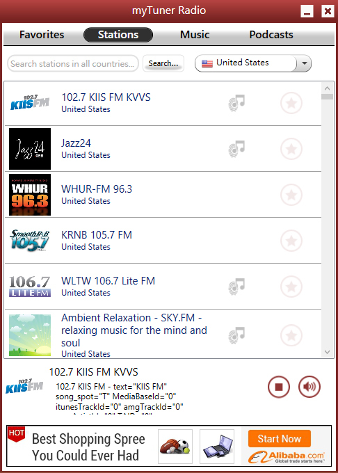 Screenshot of myTuner Radio for Windows